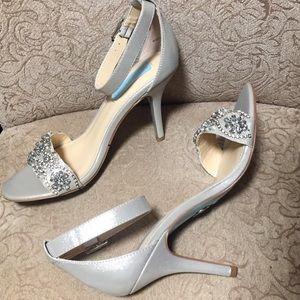 New! BETSEY JOHNSON silver bling Gina heels